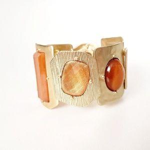 Gold StoneTribal Wide Stretch Statement Bracelet